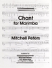 Peters, Mitchell: Chant for Marimba