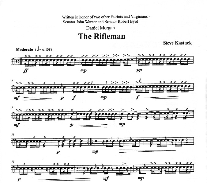 Kastuck, Steve: Daniel Morgan - The Rifleman For Snare ...