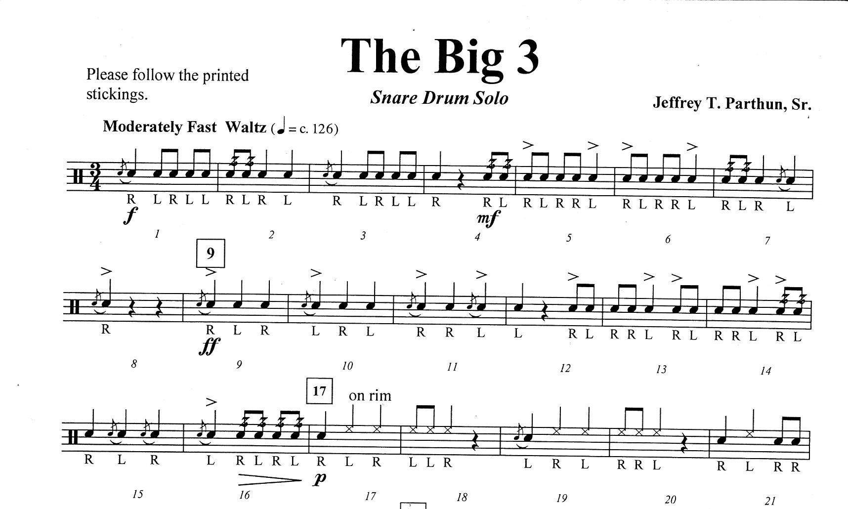parthun jeffrey t the big 3 for snare drum solo brandt percussion noten versand. Black Bedroom Furniture Sets. Home Design Ideas