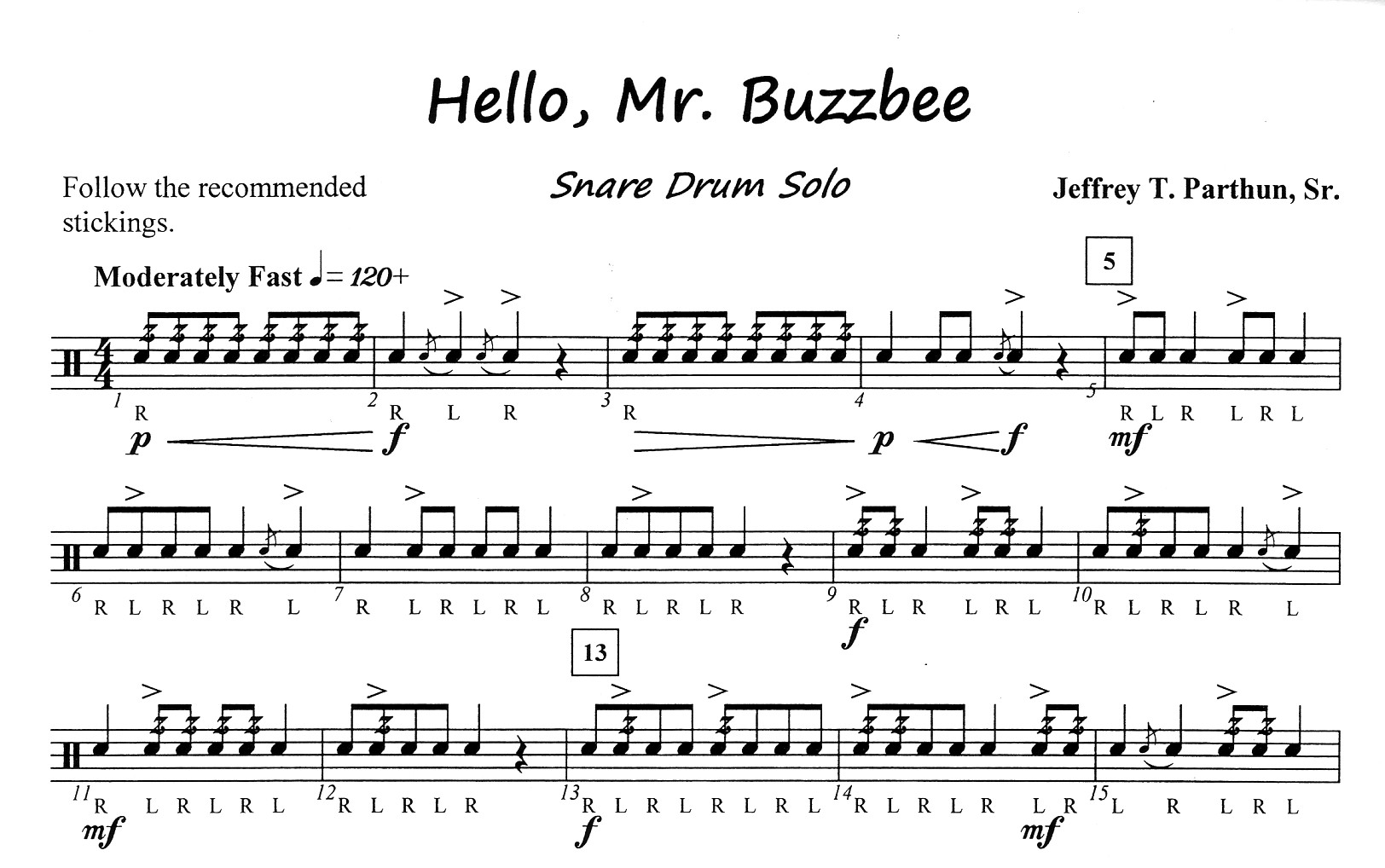 parthun jeffrey t hello mr buzzbee for snare drum solo brandt percussion noten versand. Black Bedroom Furniture Sets. Home Design Ideas