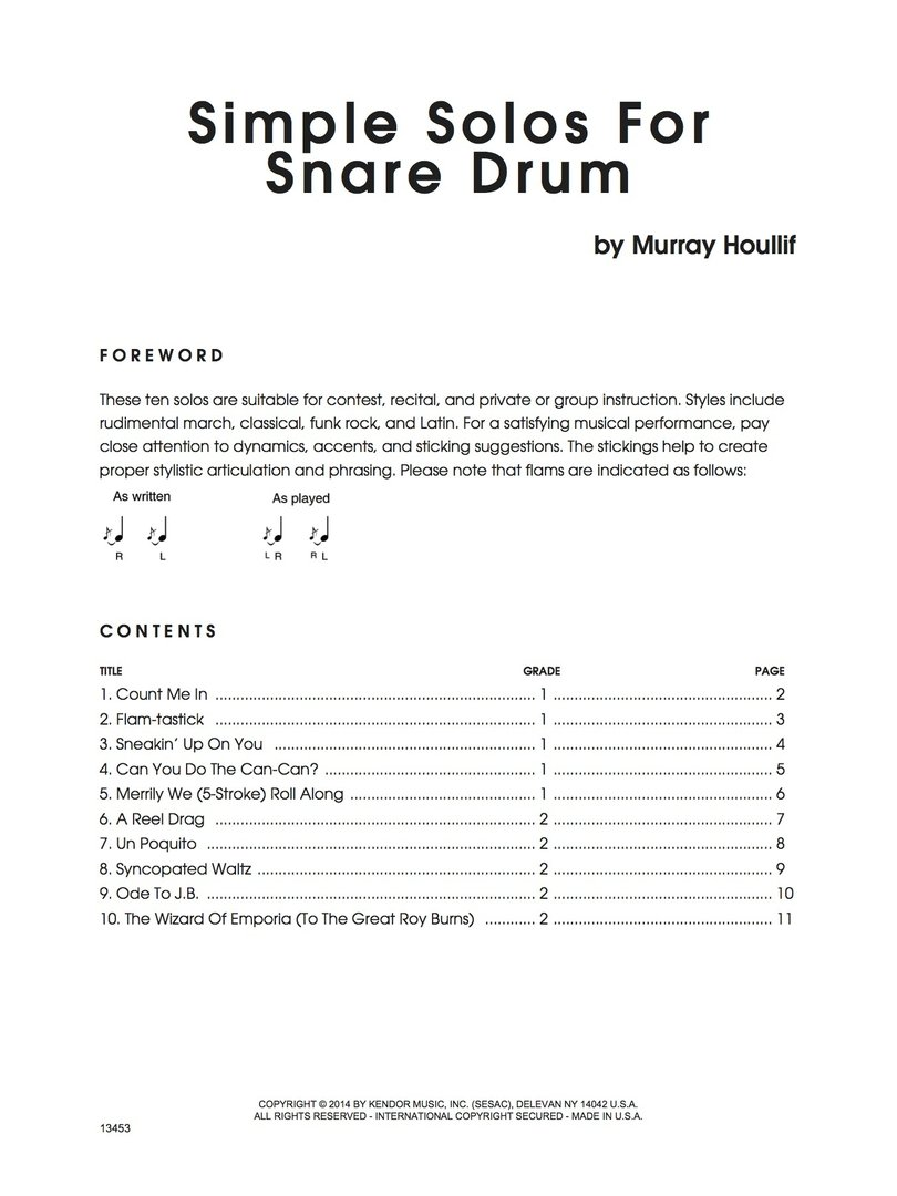 Houllif, Murray: Simple Solos For Snare Drum - Brandt ...
